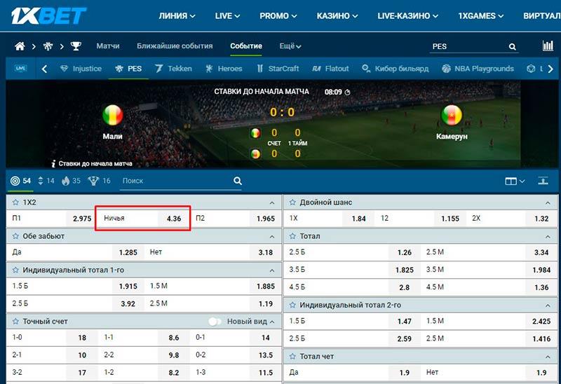Ставок на Pro Evolution Soccer в матче Мали против Камеруна